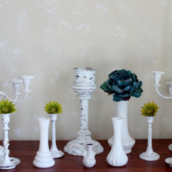 Chippy White  Vintage Candlestick , Candelabra & Milk Vase Centerpiece collection Shabby Chic Wedding Decoration , Paris Apartment Decor