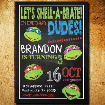 Invitations - Ninja Turtle Invitation - Ninja Turtles Birthday - Teenage Mutan Ninja Invitations - Boys Invitation - Teenage Mutan - F33