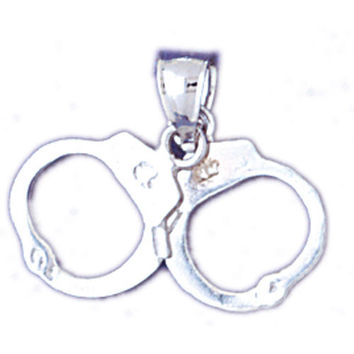14K WHITE GOLD MILITARY CHARM - POLICE HANDCUFFS #11148
