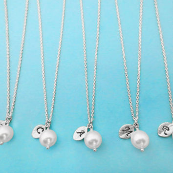 Set of 9-10 Bridesmaid, Pearl, Personalized, Initial, Gold, Silver, Necklaces, Single, Pearl, Pendant, Necklaces, 8 Bridesmaids, Necklaces