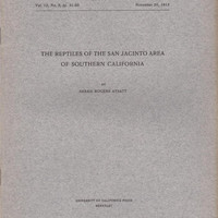 The Reptiles of the San Jacinto Area of Southern California