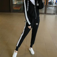 """Adidas"" Women Casual Stripe Letter Webbing Hooded Long Sleeve Zip Cardigan Coat Trousers Set Two-Piece Sportswear"