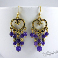 Violet chandelier earrings purple earrings birthstone jewelry boho earrings gypsy long earrings hippie agate earrings gold gift for wife