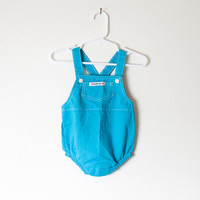 Vintage 70s Baby Romper | Health Tex Overalls Bib Blue Girls Boys Unisex Snap Crotch 12 Month Playsuit One Piece 1970s Diaper Cover Retro