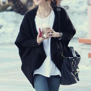 Draped Collar Open Front Long Sleeve Cardigan