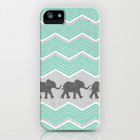 Three Elephants - Teal and White Chevron on Grey iPhone & iPod Case by Tangerine-Tane