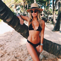 Sale summer Halter Ladies Black Top Bottoms Swimwear   top + shorts  wear Female Swimsuit