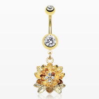 Golden Divine Lotus Belly Button Ring