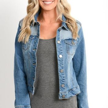 Light Wash Vintage Distressed Denim Jacket