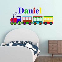 Train Personalized Name Wall Decal Full Color Vinyl Sticker Mural for Nursery Boys Custom Name Colorful SD13