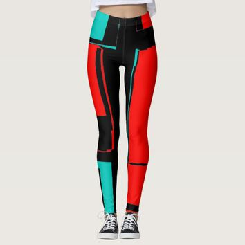 Abstract Black Red Blue City Map Pants Leggings