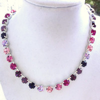swarovski crystal choker- pink and purple ombre- better than sabika- GREAT PRICE