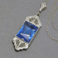ART DECO Filigree NECKLACE Cobalt Blue Glass Crystal Fancy Bale Paste Pendant, Sterling Silver Chain, Antique Womens Jewelry