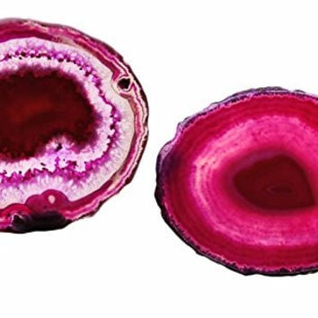"Pink Agate Slices Geode Stones,Coasters Cup Mat,Irregular Home Decoration Healing Crystals Collection 3-4.3"" Pack of 2"