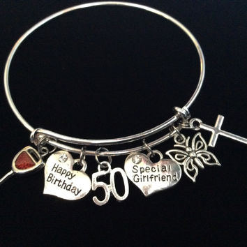 Custom Girlfriend Happy 50th Birthday Wine and Butterfly Expandable Charm Bracelet Adjustable Bangle Gift