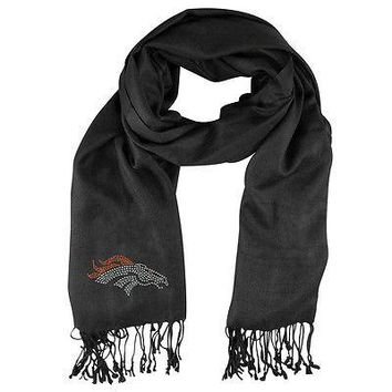Denver Broncos 28X66 Black Pashi Fan Scarf with Crystal NFL Team Logo