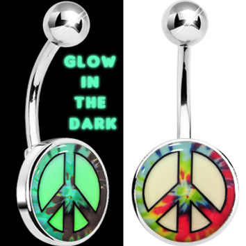 Glow in the Dark Tie Dyed Peace Sign Belly Ring | Body Candy Body Jewelry
