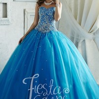 Fiesta 56289 Blue Beaded Sequin & Tulle Ball Gown