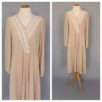 Dress nude and cream dress 1900s lace dress boho wedding gown 1920s