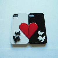 Black & White Iphone 4/ Iphone 4s with Red Heart and laser cut acrylic skeleton case- couples set- Free shipping