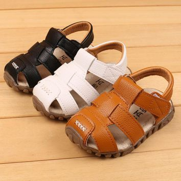 Free Shipping Baby Boy Sandal Kids Sandals Closed Toes Leather Children Sandals For Boys