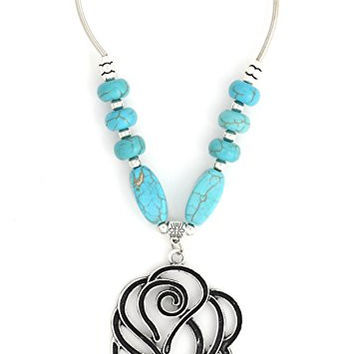 Filigree Rose Necklace Turquoise Howlite Beaded Silver Tone NR83 Flower Pendant Fashion Jewelry