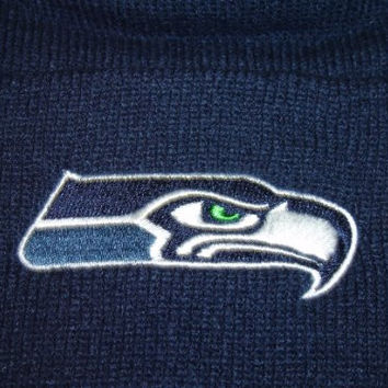Authentic 47 Brand NFL Seattle Seahawks Navy Classic Logo Cuffed Knit Beanie Hat Cap