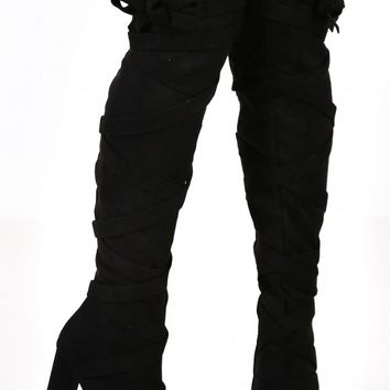 Double Trouble Black Suede Over The Knee Boots