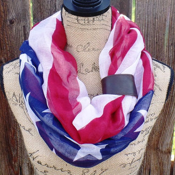 American Infinity Flag Scarf With Leather Cuff, Patriotic Scarf, American Circle Scarf, USA Loop Scarf, American Flag Scarf