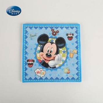 10PCS/LOT Disney Mickey mouse Theme Napkins Kids Birthday Party Favors Paper Napkins Disposable Tableware Tissues