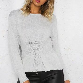 Knit Tops Autumn Cross Strap Plus Size Sweater [11535890566]
