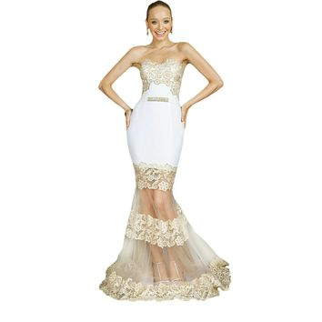 Terani Couture Embellished Applique Formal Dress