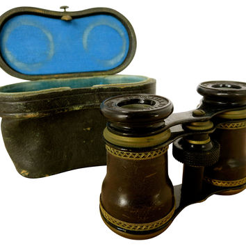 French Leather Chevaliar Opera Glasses