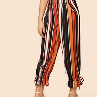Drawstring Hem Striped Pants