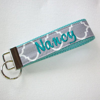 Key FOB / KeyChain / Wristlet  - Personalized - gray Quatrefoil on aqua  -  preppy -  custom Teacher Appreciation Gift bridesmaids -