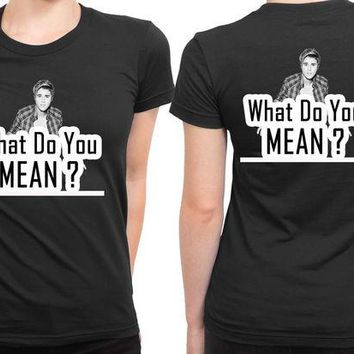 DCCKL83 Justin Bieber What Do You Mean 2 Sided Womens T Shirt