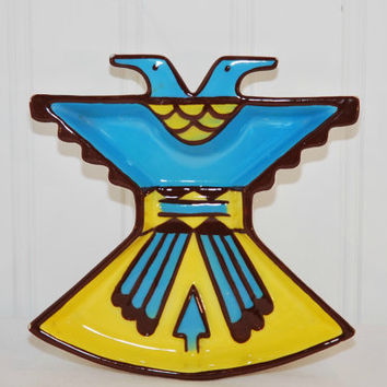 Mid-Century Sims Ceramic Pottery Native American Thunderbird Ashtray (c.1950's-1960's), Trinket Dish, Made In USA, California Pottery