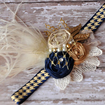 Phoebe headband- navy and gold-photo prop-beautiful shabby chic headband-weddings-baby headband-fall headband-girls accessory