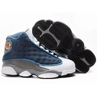 Nike Jordan Kids Air Jordan 13 Retro White/L.Blue/Gray Kids Sneaker Shoe US 11C - 3Y