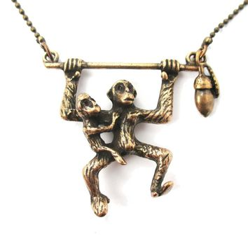 Mother and Baby Chimpanzee Monkey Swinging Shaped Animal Pendant Necklace in Bronze