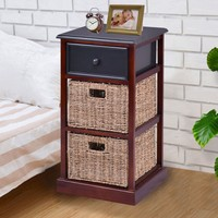 Giantex 3 Tiers Wood Nightstand with 1 Drawer 2 Baskets Modern Bedside End Table Organizer Brown Bedroom Furniture HW56724