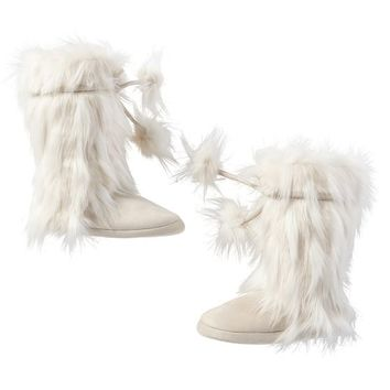 Pom-Pom Tie Faux-Fur Booties, Winter Fox
