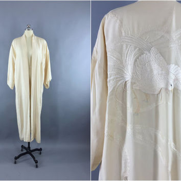 Vintage 1920s Silk Kimono Robe / 20s Wedding Dressing Gown Lingerie / Downton Abbey / Art Deco Embroidered Peacock Phoenix Bird Embroidery