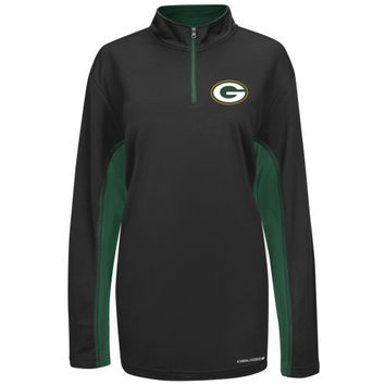 Green Bay Packers Majestic Defending Zone Cool Base Quarter Zip Jacket - Black