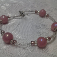 Pink and Clear Glass Bead Bracelet