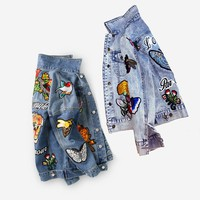 Floral Butterfly Embroidered denim jacket autumn/winter fashion Basic Coats streetwear Jackets women 2017 chaqueta