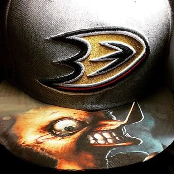 Anaheim Ducks Authentic Zephyr or New Era Snapback or Fitted Cap with Custom Bill