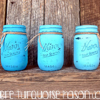 Hand-Painted Hand-Distressed Ombre Turquoise Mason Jars