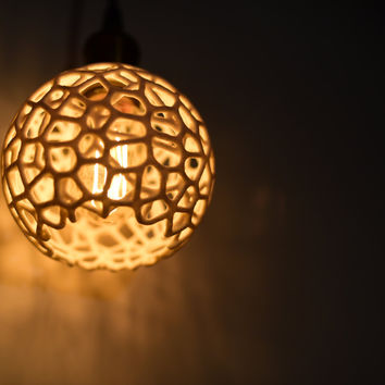 Pendant light, plug in, 3D printed, industrial lighting, hanging lamp, geometric design, polygon, vintage Edison bulb, Kitchen Lighting