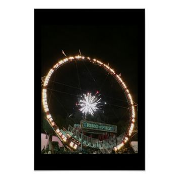 Fireworks with Amusement Ride Poster